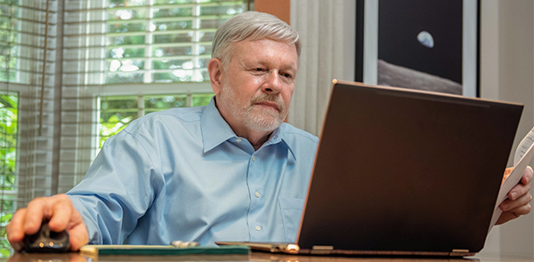 Richard working on computer