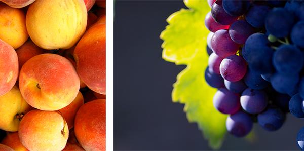 peaches, grapes