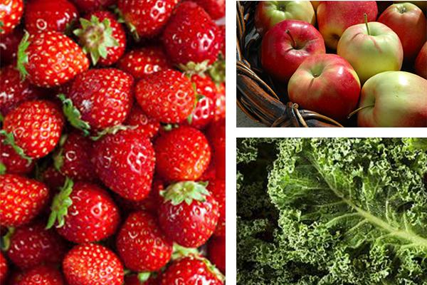 strawberries, apples, kale